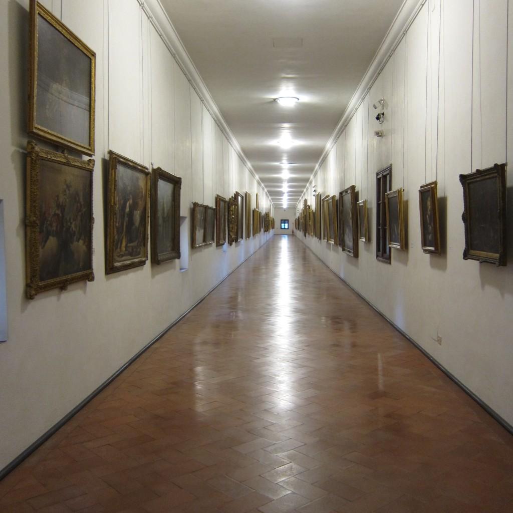 Inside the Vasari corridor- 1 kilometer long connecting Palazzo Pitti to Palazzo Vecchio.